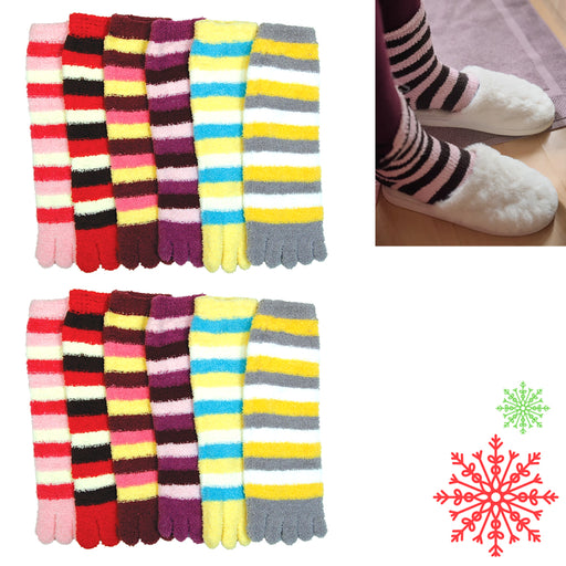 12 Pair Fuzzy Toe Socks Ultra Soft Warm Plush Striped Womens Girls Size 9-11 New