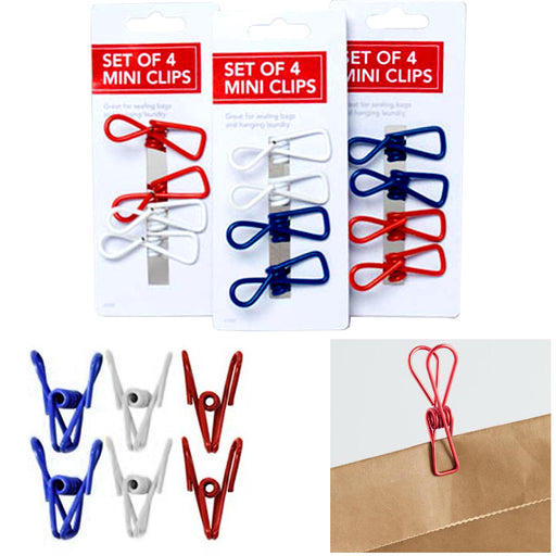 12 Multi Purpose Mini Clips Wire Clamp Metal Food Sealing Bag Snack Chip Holder