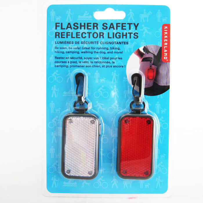 2 LED Flasher Safety Reflector Lights Bike Key Chain Hiking Jogging Walk Tag Pet