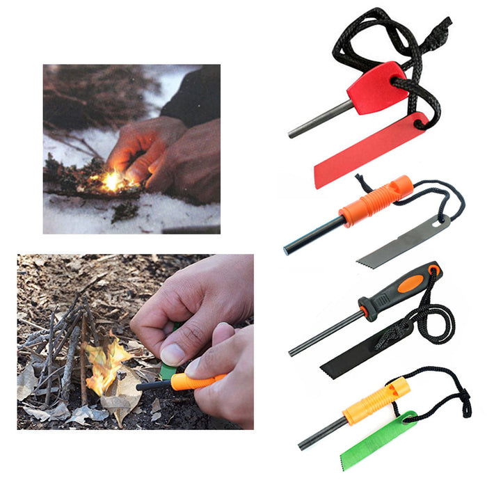 2Pk Emergency Flint Fire Starter Striker Magnesium Survival Lighter Camping Tool