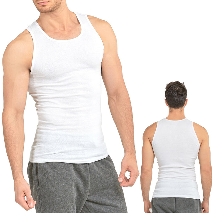 12 Lot Men Slim Muscle Tank Top T-Shirt Ribbed Sleeveless Cotton A-Shirt White M