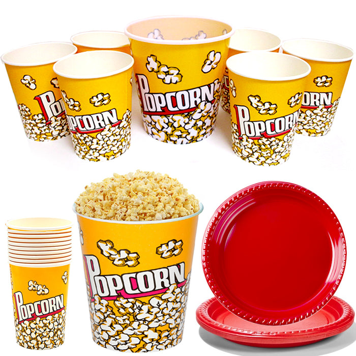 44 Pc Popcorn Bowl Set With Plates Plastic Superbowl Reusable Movies Bucket Tub
