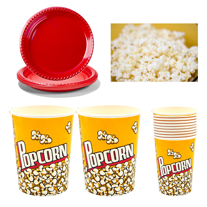22 Pc Paper Popcorn Bowl Plastic Tub Container Movie Party Favor Theater Buckets