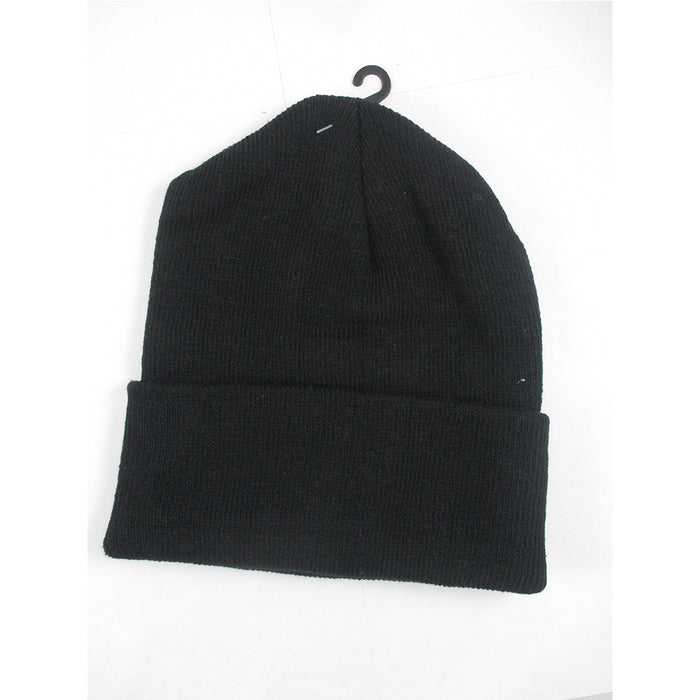 d42a0a3ce65 Plain Beanie Ski Cap Skull Hat Warm Solid Color Winter Cuff New Black —  AllTopBargains
