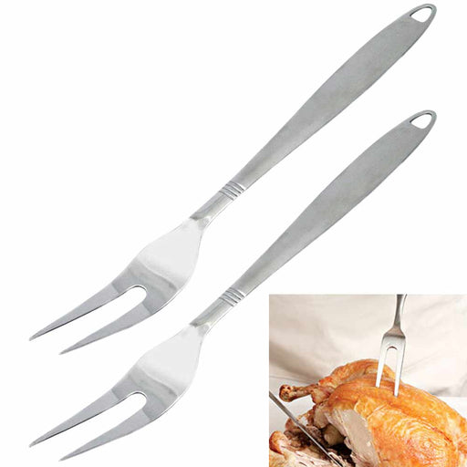 2 Stainless Steel Serving Fork Carving Kitchen Cooking Utensil Set Tools Server