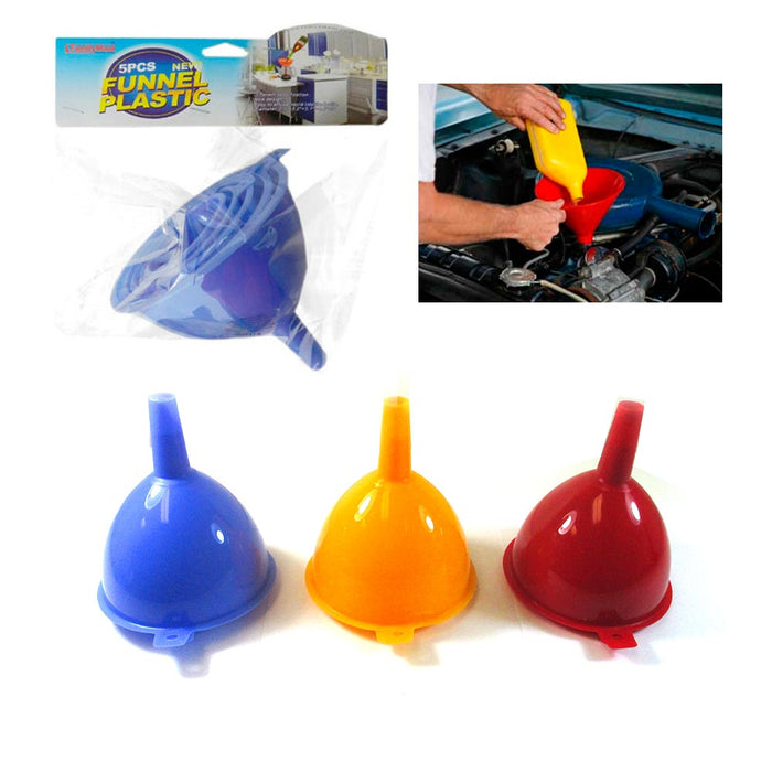 5 Pc Funnel Set Plastic Filling Auto Oil Water Lab Home Kitchen Car Tool Sizes