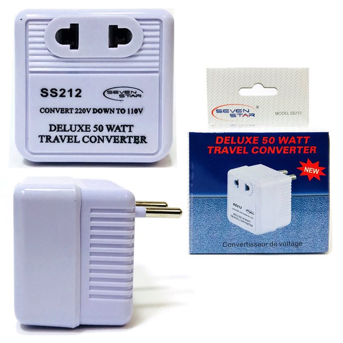 Deluxe Travel Converter 50 Watt 220V 110V Step Down Voltage Charger Plug Adapter