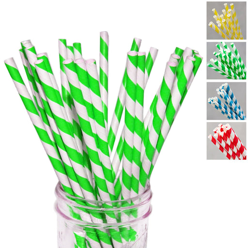 210PC Drinking Paper Straws Striped Colors Party Supply Decor Biodegradable Bulk