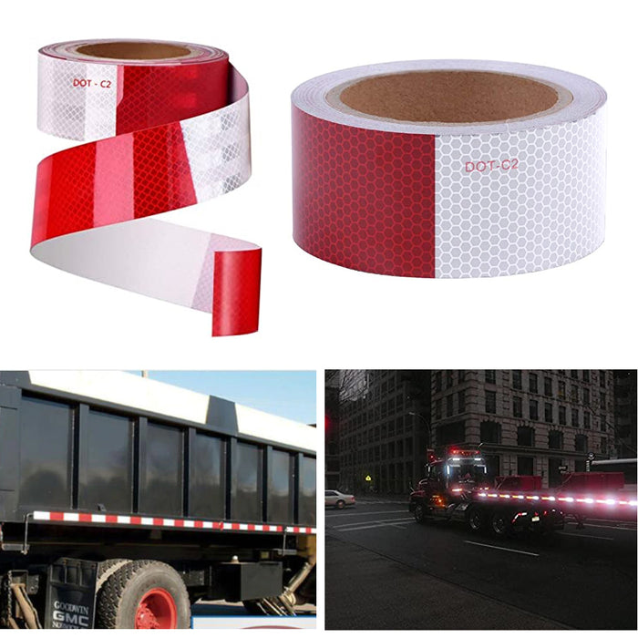 "4 Rolls Dot Reflective Tape Conspicuity 2"" X 10ft Red White Visibility Adhesive"