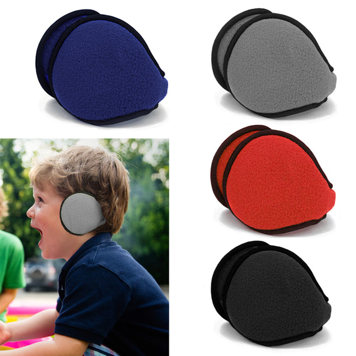 Kids Ear Muff Earmuffs Boy Girl Warmers Winter Basic Polar Fleece Grip Wrap Soft