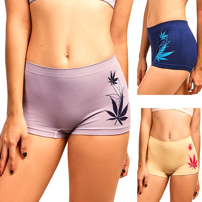 3 Seamless Boyshort Women Underwear Booty Panties Boxer Brief Stretch Yoga Dance