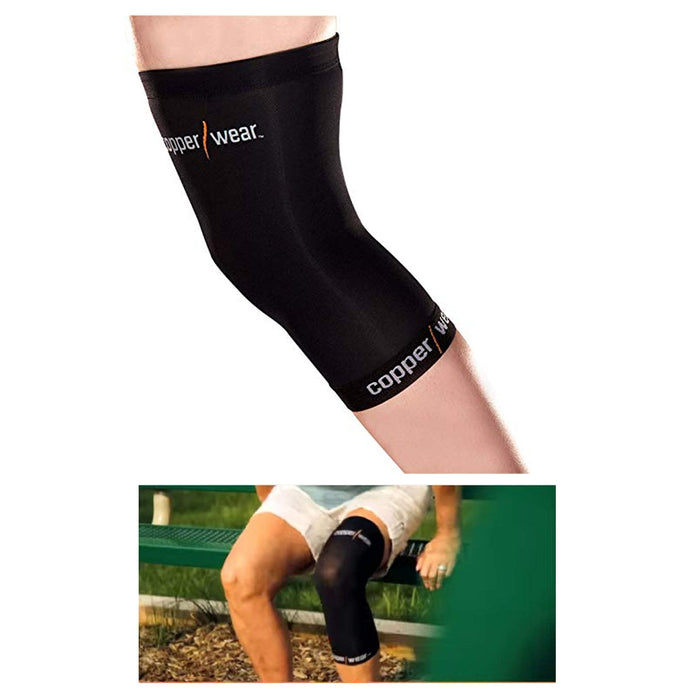 2 Copper Knee Elastic Brace Muscle Support Sleeve Arthritis Sports Pain Relief
