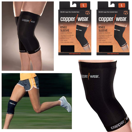 2 Pc Copper Knee Sleeve Support Brace Patella Soft Wrap Sports Black Size Large