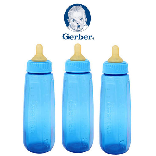 3 Gerber BPA Free Baby Bottles First Essentials 9 Oz Leak Proof Baby Blue Feeder