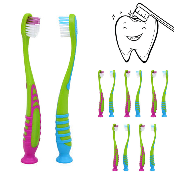 12Pc Lot Kids Toddler Toothbrush Soft Bristles Suction Cup Stand Mouth Oral Care