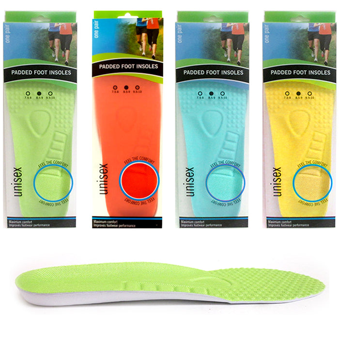 4 Pair Shoe Insoles Padded Inner Soles Unisex Comfortable Trainer Pad Size 7.5/8