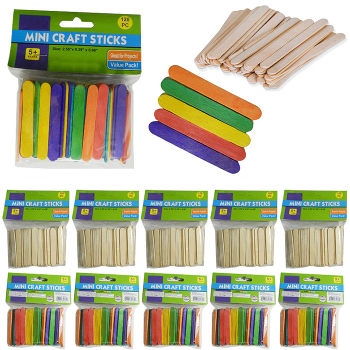 200 Pcs Popsicle Sticks Bulk Craft Flat Natural Wood Multi Colored 2 56 X 0 39