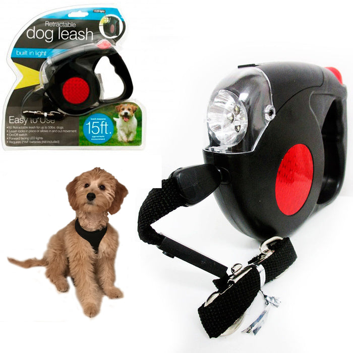Retractable Dog Leash Black Automatic 15 Feet Long 4 LED Lights Strap Rope New