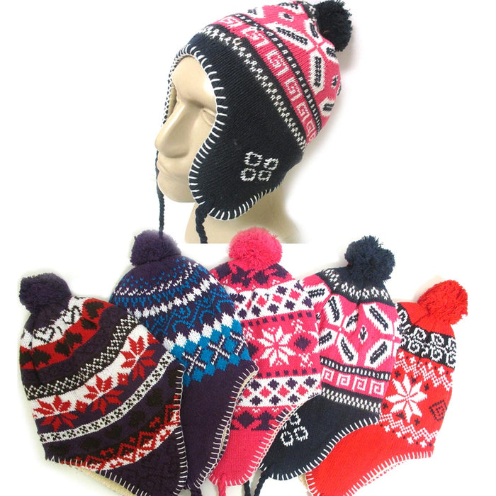 1 Unisex Peruvian Winter Ear Flap Muff Ski Hat Kids Teens Skully Beanie Cap Snow
