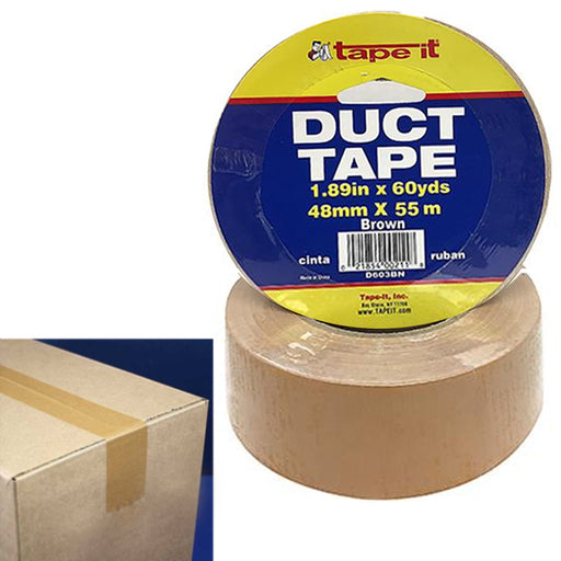 "2 Rolls Brown Duct Tape 1.89"" by 60 Yards Sticky Packing Adhesive Seal Packaging"