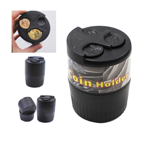 2 X Car Coin Holder Case Change Cup Container Organizer Quarter Dime Penny Box