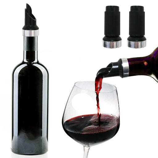 2 Pack Wine Liquor Pour Spout Free Flow Bottle Pourer Stopper w/ Cap Set Barware
