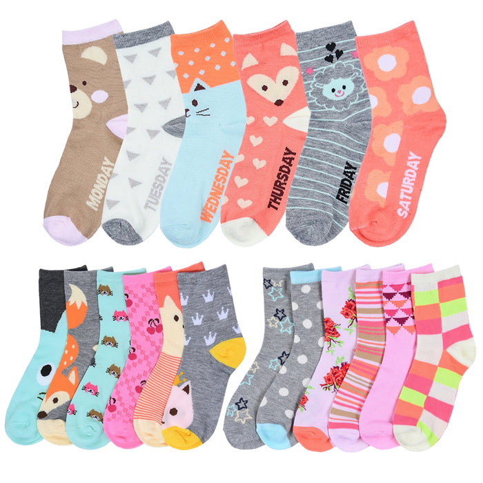 3 Pairs Girls Socks Toddler Shoe Size 6-8 Kids Baby Fashion Assorted Crew Cotton