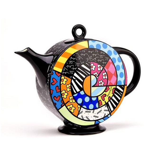 Romero Britto Teapot Spiral Ceramic Tea Kettle Pot Hot Water Filter Infuser 60Oz