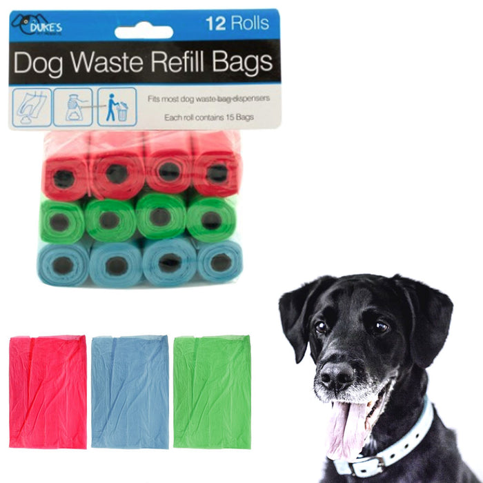 12 Rolls Dog Waste Refill Bags Poop Pooper Pick Up Clean Coreless Pet Outdoor