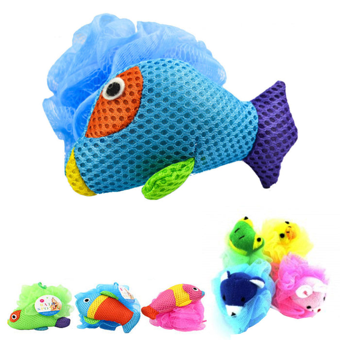 2 Kids Mesh Sponge Bath Scrub Toy Pouf Puff Sponges Stuffed Animal Shower Loofah