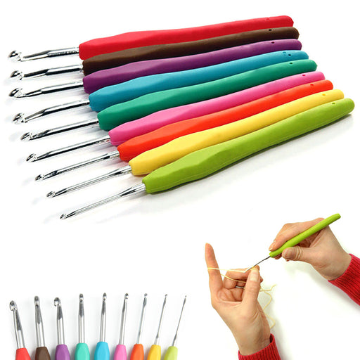 9 Pc Aluminum Crochet Hook Set Non Slip Rubber Handle Craft Knitting Needle Kit