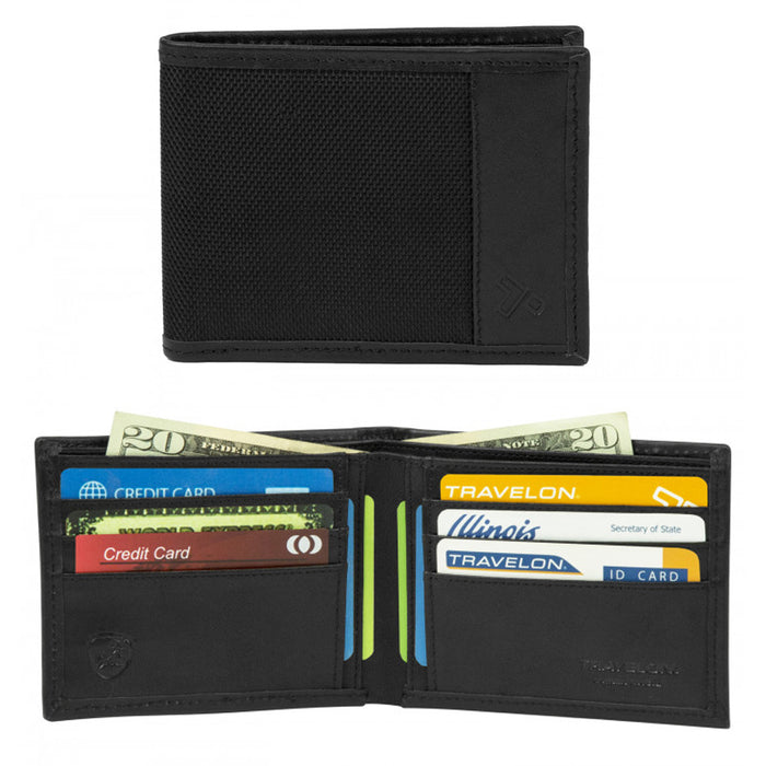 Mens Genuine Leather RFID Blocking Bifold ID Card Holder Wallet Travelon Black