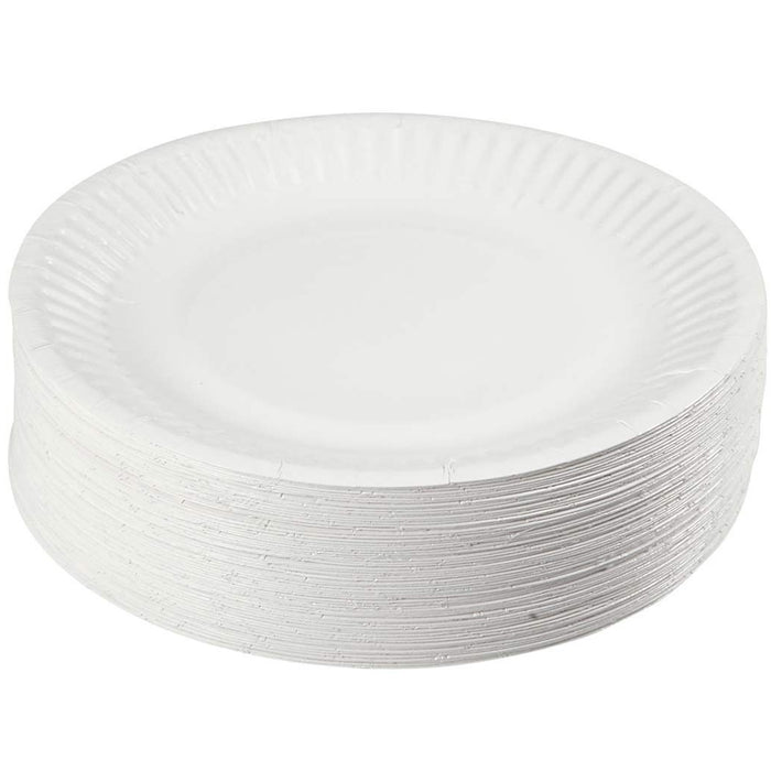 "200 Ct 9"" White Round Paper Plates Disposable Party Dinnerware Eco Friendly"