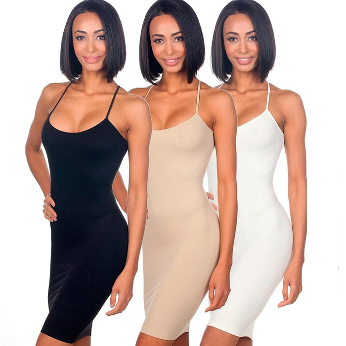 3pc Seamless Cami Tunic Dress Slip Camisole Dress Layering Tank Top Spandex Sexy