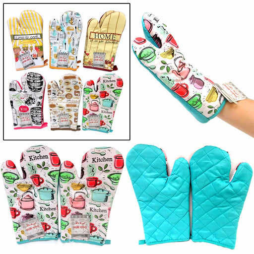 1 Pair Quilted Cotton Kitchen Oven Mitt Cooking Glove Heat Protection Pot Holder
