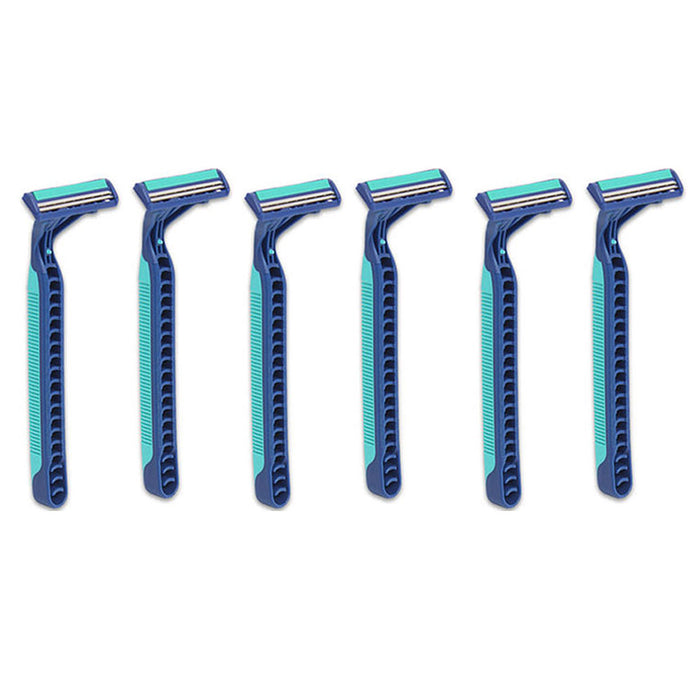 6 Gillette Disposable Razors Blue 2 Plus Twin Blade Ultra Grip Lubrastrip Shaver
