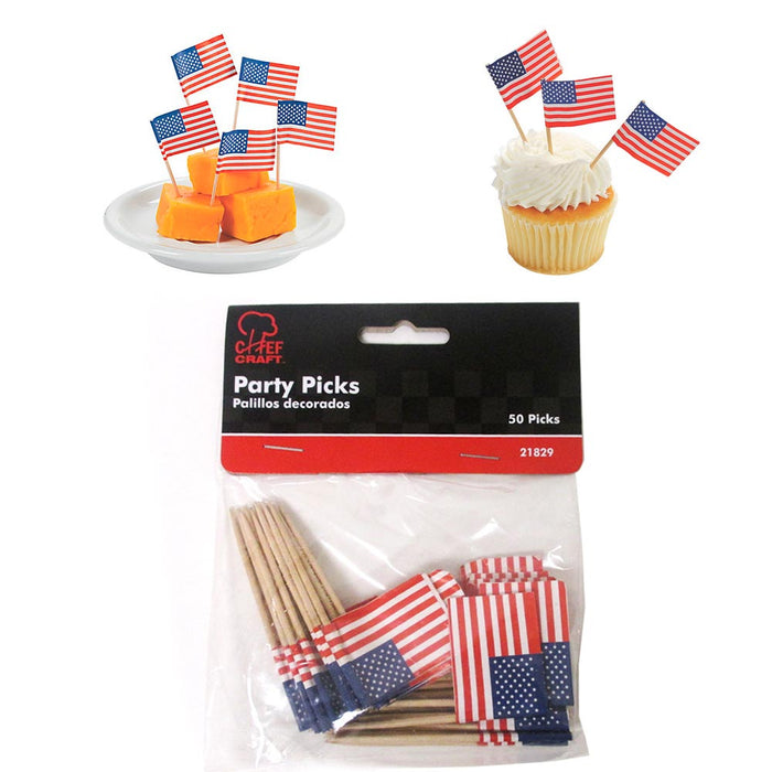50pc Mini American Flag Toothpicks Party Cupcake Decoration Sandwich Picks Stick