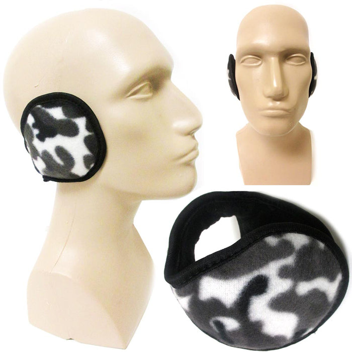 1 Black Camouflage Earmuff Warmers Winter Ear Muffs Covers Wrap Soft Unisex Camo