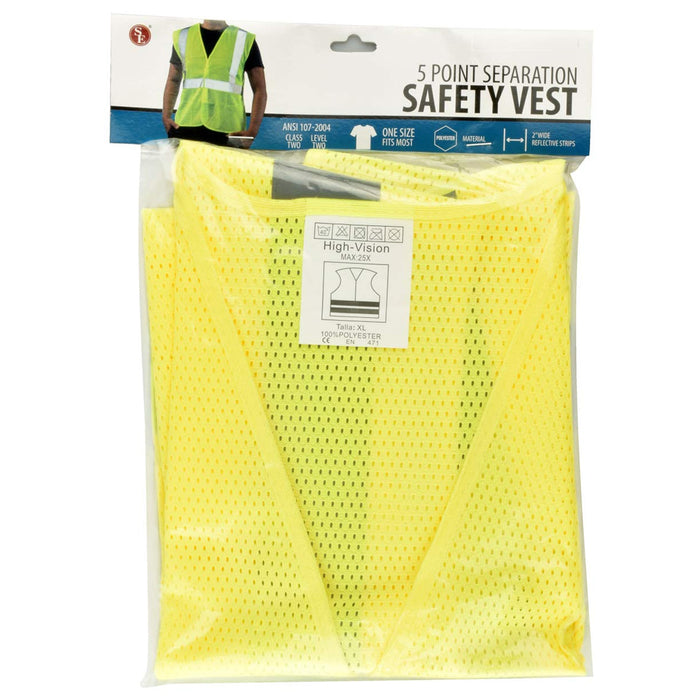 1 Reflective Safety Work Vest ANSI Class 2 Neon Yellow High Visibility Emergency