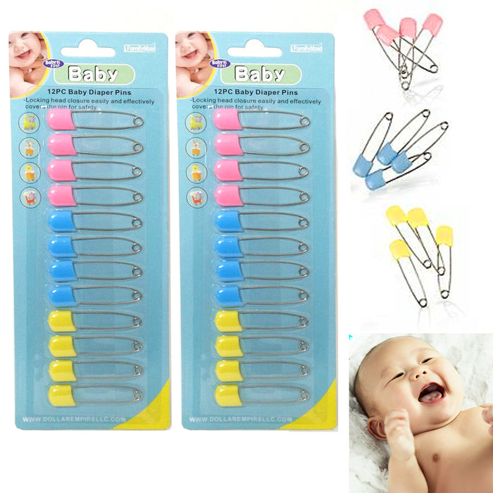 24 Pc Baby Diaper Pins Safety Pin Lock Cloth Changing Locking Clip Multi Colors