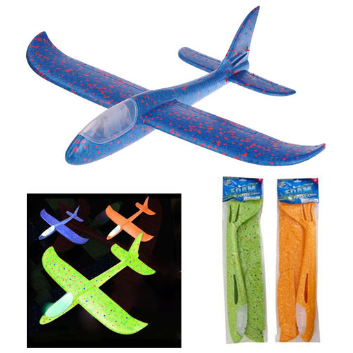 2 Kids Foam Flying Plane Light Up Hand Toy Aeroplane Model Outdoor Launch Glider