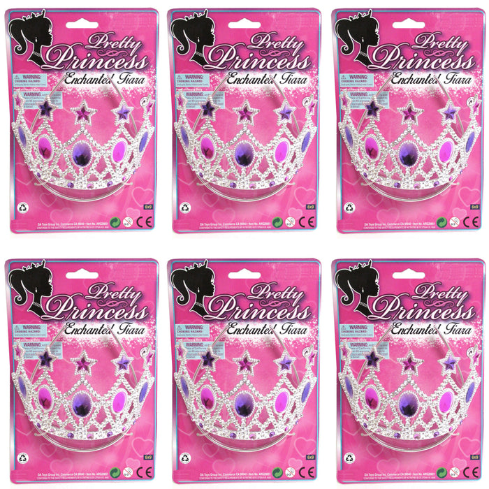 6Pc Princess Crown Tiara Party Favors Charming Girls Rhinestone Wedding Headband