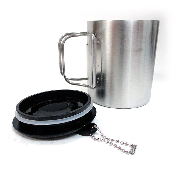 Travel Coffee Mug Stainless Steel Lid Tea Drink Tea Cup Handle Double Wall 10 Oz
