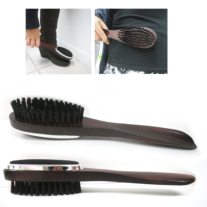 1 Wood Shoehorn Clothes Lint Brush Garment Care Sturdy Slip Men Women Shoe Horn
