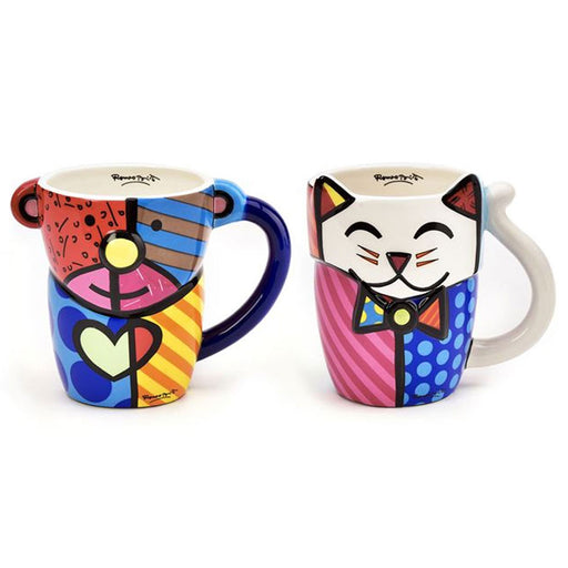 New Romero Britto Coffee Mug Cup Animal Design Ceramic Authentic Bear Cat Gift