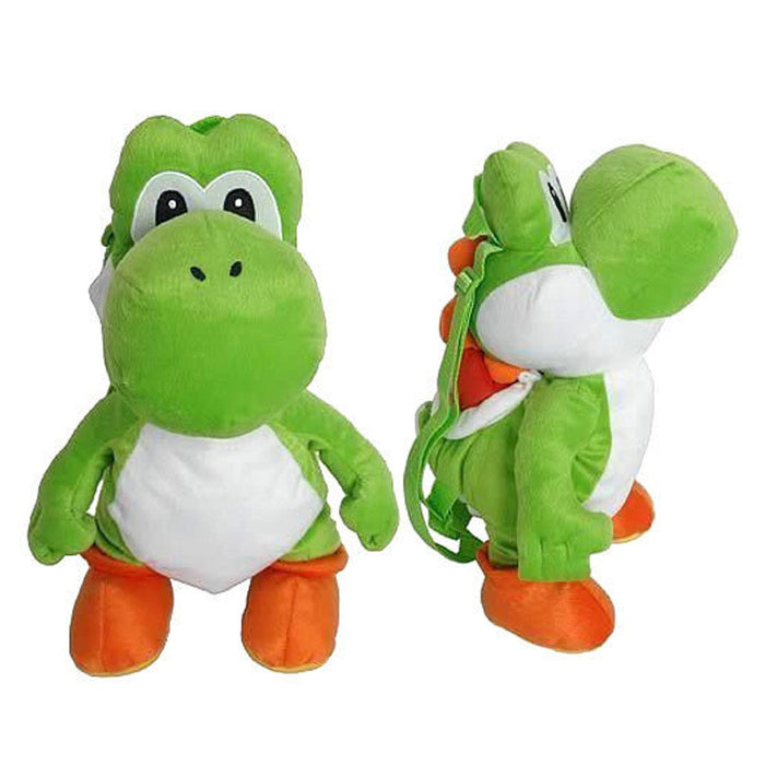 Yoshi Plush Backpack Nintendo Super Mario Bros Stuffed Bag Zipper Kid School 18
