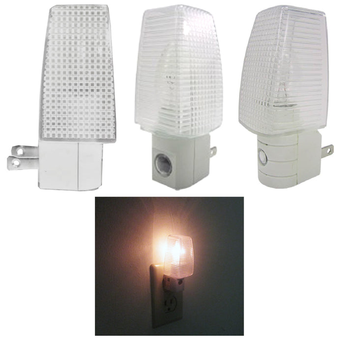 4 Night Light Energy Saving Automatic Sensor Wall Plug In Lite Nightlight Lamp !