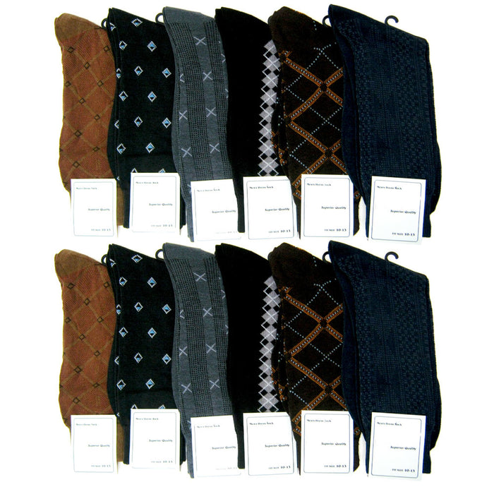 12 Pairs Men Business Dress Socks Professional Casual Size 10-13 Design Assorted