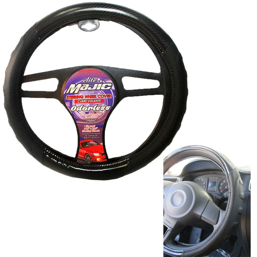 "Universal Steering Wheel Cover Car Truck Black Graphite Odorless Auto 15"" New $$"
