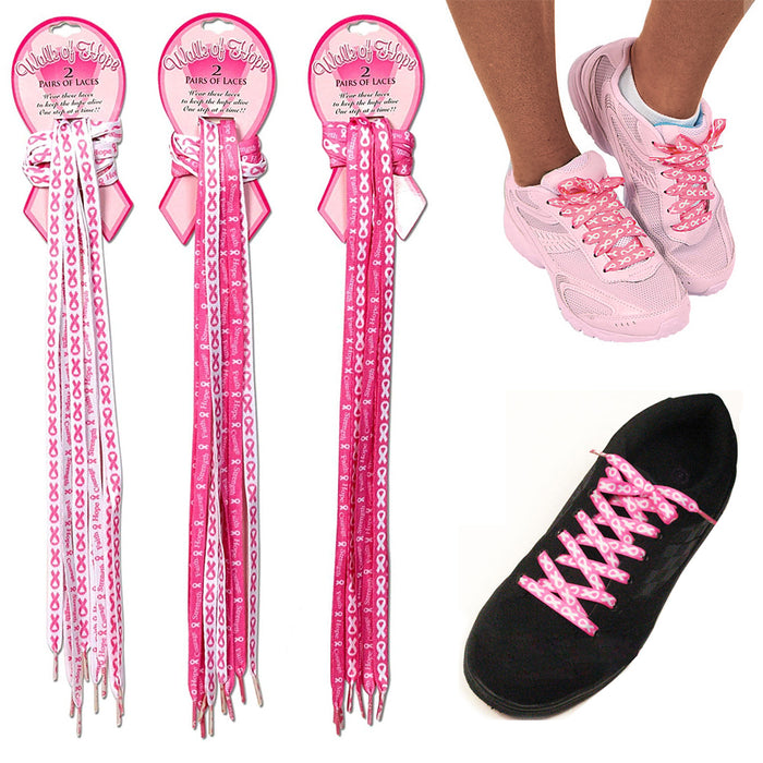 2 Pair Breast Cancer Awareness Shoe Laces Strings Pink Ribbon Hope Walk Shoelace